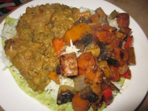Roast veggie with dahl and rice